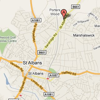 Map of St Albans showing location of Kym Winter's practice. Click for Google map